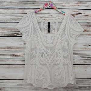 NWT Jessica Simpson Sheer Lace Blouse Top Ivory XL